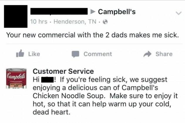 Campbells twitter response to homophobic tweet