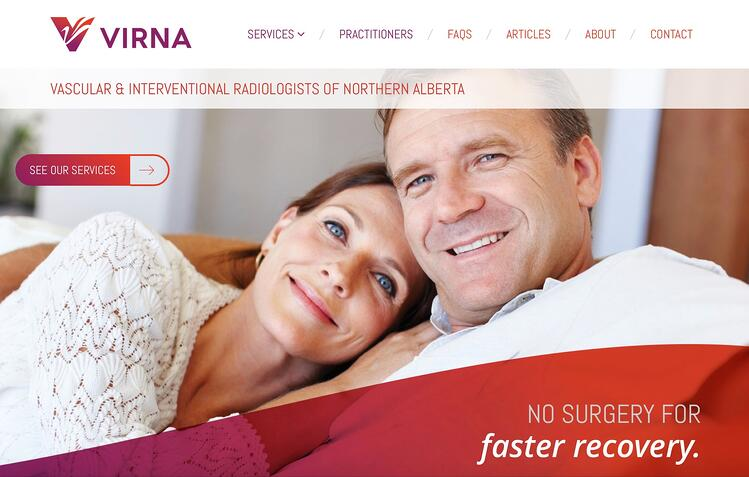 VIRNA website design homepage